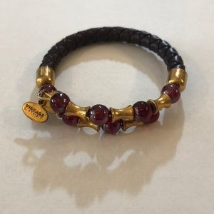 ALEX AND ANI Vintage 66 Maroon Leather Wrap